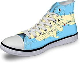 High Top Classic Casual Canvas Sneakers Lace ups Casual Walking Shoes,Map of South and North America with Countries Capitals and Major Cities Colorful Design - Womens