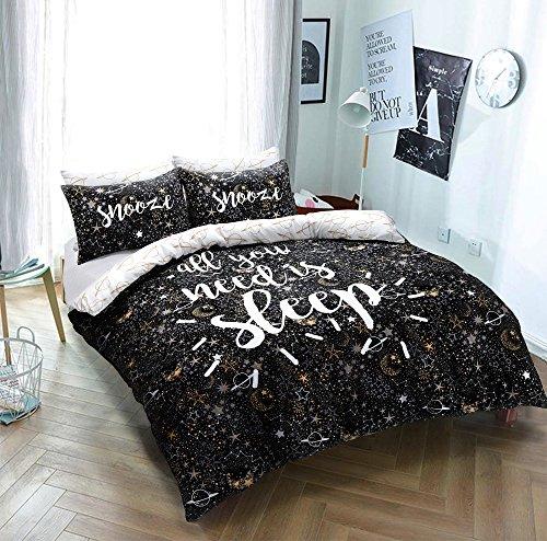 Sleepdown Sleep Slogan Fully Reversible Duvet Quilt Cover + PillowCases (KIng)