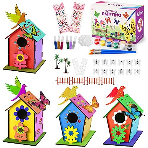 colmanda Casa per Uccelli in Legno, 4 PCS Kit Casa per Uccelli in Legno, Casetta Uccelli Giocattoli Fai da Te Kit per Bambini, Casetta Pittura Kit Decorazioni per attività domestiche in Legno