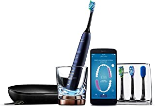 Philips Sonicare DiamondClean Smart Electric, Rechargeable toothbrush for Complete Oral Care, w/Charging Travel Case, 5 modes, 4 Brush Heads & Brush Head holder - 9750 Series, Lunar Blue, HX9954/56