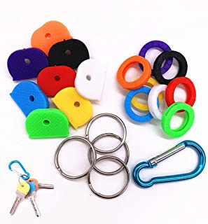 Key Caps Tags Covers, 16 Pack Key Cap Key Rings, Plastic Key Identifier Ring Label ID in 2 Different Style 8 Different Colors + 4 key rings + 1 keychain hook Perfect Coding System to Identify Your Key