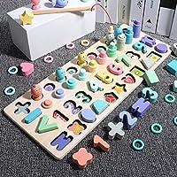 モンテッソーリ教育木製おもちゃ子供忙しいボード数学釣り子供の木製就学前モンテッソーリ玩具カウントジオメトリ