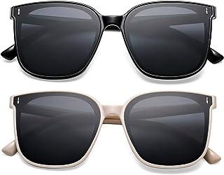 SCVGVER Trendy Oversized Sunglasses for Women Men, Vintage Square Frame Shades with UV400 Protection Flat Lens
