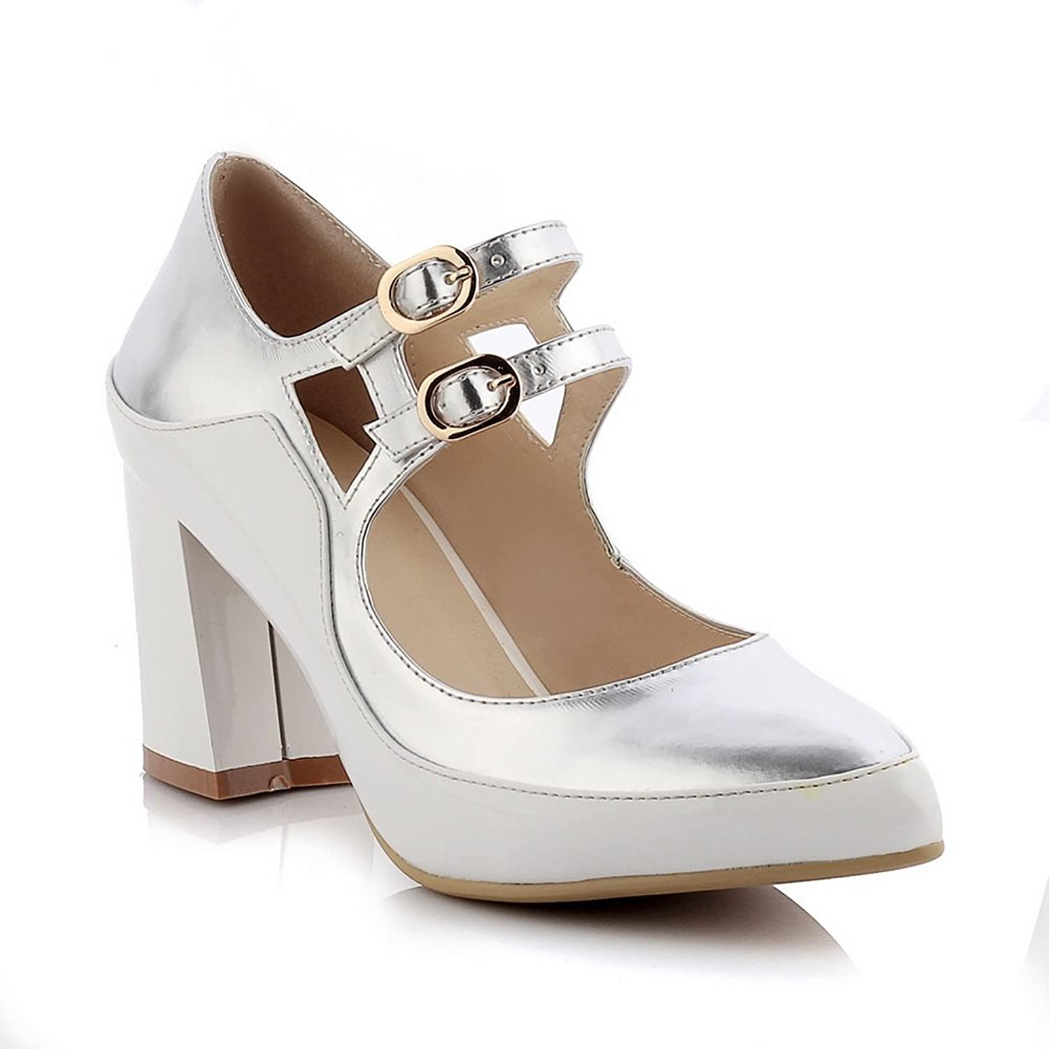 1TO9 Womens Chunky Heels Metal Buckles Buckle Pointed-Toe Microfiber Pumps shoes MMS03391