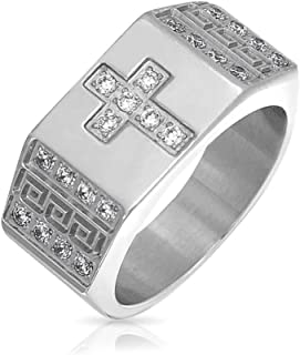 Religious Wide Mens Cubic Zirconia CZ Christian Greek Key Cross Ring Band for Men Silver Tone Stainless Steel