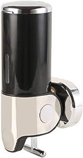 MINORI ソープディスペンサー 壁掛け 手動 浴室 洗面所 詰替え シャンプー おしゃれ (ブラック, シングル1連:500m×1)