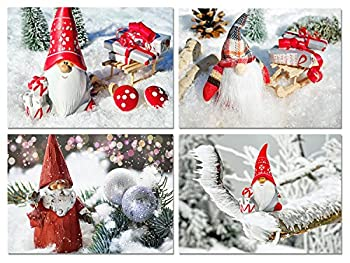 Christmas Gnomes Blank Note Cards - Holiday Greeting Cards with Envelopes - 4 Unique Designs - 5.5 x4.25   12 Pack