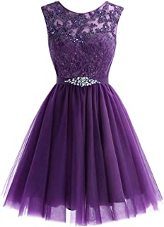 Huifany Women's Short Tulle Homecoming Dresses Lace Prom Cocktail Party Gowns