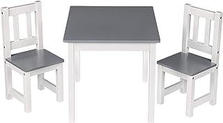 WOLTU SG014 1 Table pour Enfant d'âge préscolaire avec 2 chaises en Bois 60x50x48cm,Blanc+Gris