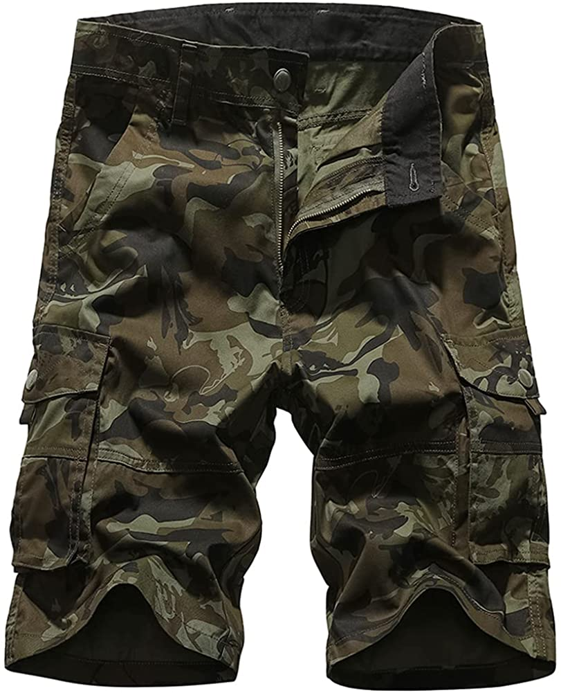 HJWWIN Mens Camo Cargo Shorts Relaxed Fit Cotton Camouflage Army Shorts with Multi Pockets