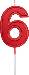Willcan 3.93in Big Size Happy Birthday Metallic Red 6 Candles, Red Color Happy Birthday Cake Cupcake Toppers Decoration and Celebrating for Adults/Kids Party or Family Baking (3.93in red Number 6)