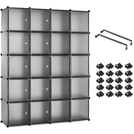 Meerveil Armoire Penderie Portable Étagère de Rangement Cubes de Stockage Modulaire en Plastique en métal Stable, Assemblage Facile pour Vêtements, Accessoires, Jouets, Gris (145 x 37 x 180 cm)