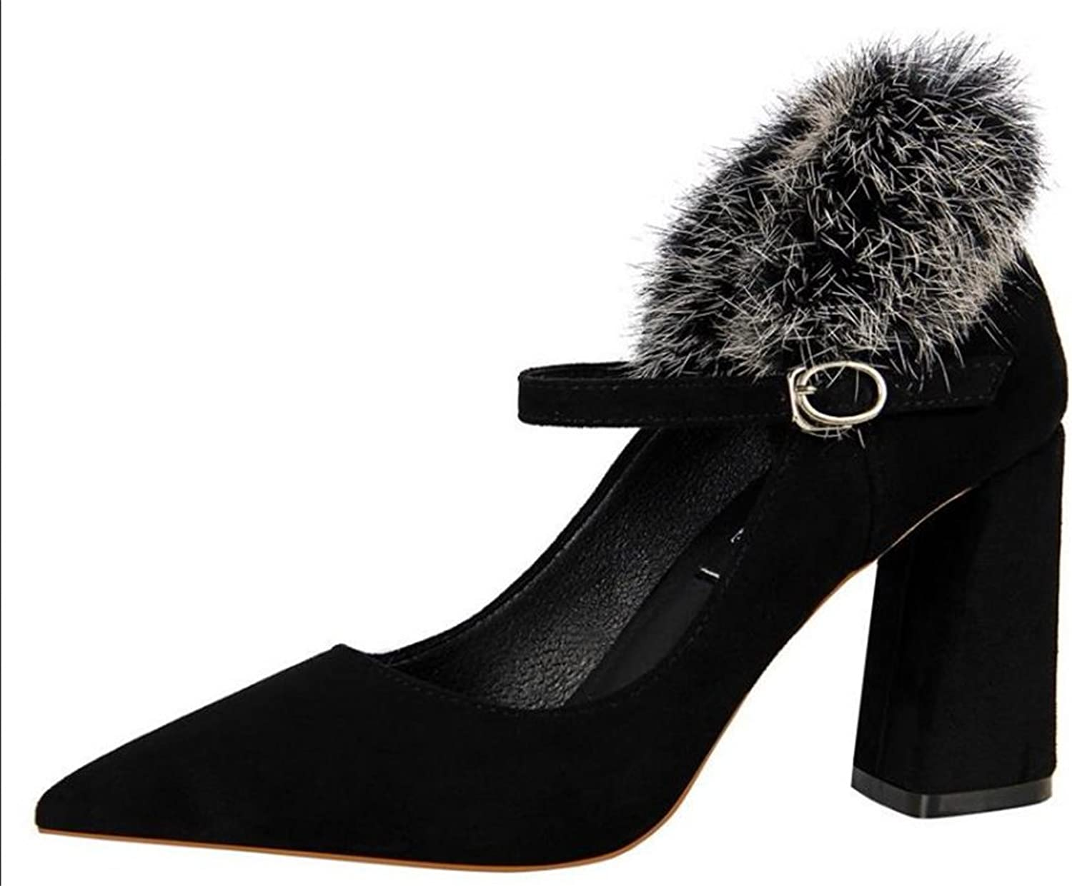 TUYPSHOES Velvet Pointy Toe Stiletto High Heel Fur Slip On Pump Slide shoes Party Dance shoes Work shoes