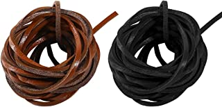 Caydo 2 Colors Real Leather Cord 3mm for Shoe Laces, Boot Leather Lacing and Bags, Total 26 Feet