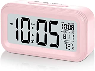 SZELAM Battery Digital Alarm Clock, LCD Clock Electronic for Bedroom Home Office , with Date,Indoor Temperature, Snooze Light, Small-Sized, Backlight, Kids, Girl-Pink
