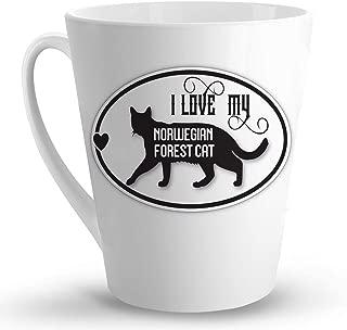 Makoroni - I LOVE MY NORWEGIAN FOREST CAT - 12 Oz. Unique LATTE MUG, Coffee Cup