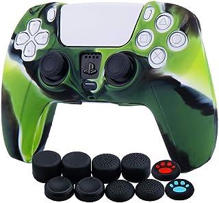 Funda de piel de silicona para Sony PS5 Dualsense Controller x 1 (camuflaje verde) con agarres para el pulgar x 10