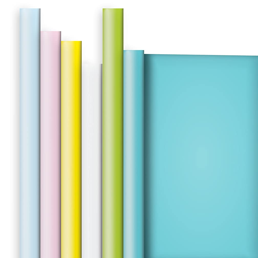 Jillson Roberts 6 Roll-Count All-Occasion Solid Color Gift Wrap Available in 10 Different Assortments, Pretty Pastels