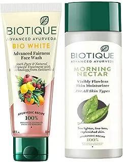 Biotique Skin Brightening Kit - Bio White Face Wash 50ml, Bio Morning Nectar Moisturizer 120ML (2 Items in the set)