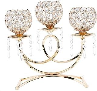 L.J.JZDY Ljushållare kristall metall ljushållare 3-armar ljusstav dekor hantverk tillbehör premiumgåvor ljusstake (färg: G...