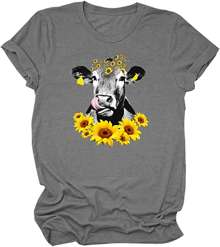 Womens T Shirts Short Sleeve Graphic Summer Sunflower Pattern Cow Print Crewneck Tee Tops Shirts Blouse Plus Size