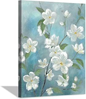 Hardy Gallery White Flower Picture Wall Art: Bloom Artwork Floral Painting on Canvas Picture for Living Rooms (40'' x 30'' x 1 Panel)