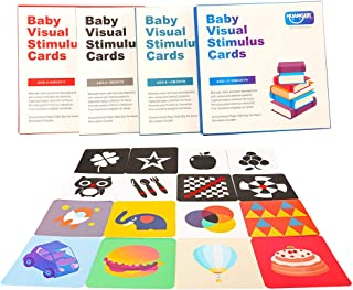 Barwa Flash Cards for Infants, 64 Cards - 128 Pictures Baby High Contrast Flash Cards Educational Toy Black & White Flash ...