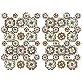 Finest Folia 56 pegatinas hippie flores autoadhesivas Flower Power decoración para coche, bicicleta, autobús, paredes, muebles, estilo retro años 70 (marrón beige brillo (R063))