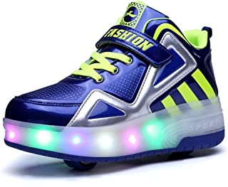 6KZMNA0Z0A Kids Boys Girls High-Top Shoes LED Light Up Sneakers Single Wheel Double Wheel