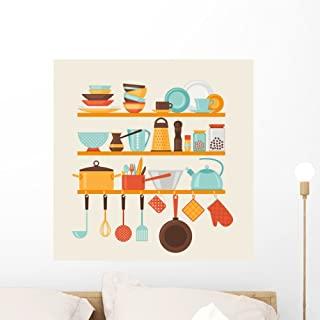 Wallmonkeys Card with Kitchen Shelves and Cooking Utensils in Retro Style Wall Decal Peel and Stick Graphic WM354631 (24 in H x 24 in W)