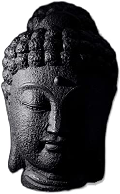 LXX Buddha Statue Resin Buddha Bust Calming Zen Meditation Statue, Antique Zen Buddha Head Bless Feng Shui, Meditating Sculpture Housewarming Gift Laughing Statue Buddha (Size : Height 38cm/15in)