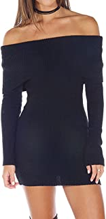 GGTFA Las Mujeres De Los Hombros Fuera De La Sudadera Pullover Jumper Suéter De Bodycon De Prendas De Punto