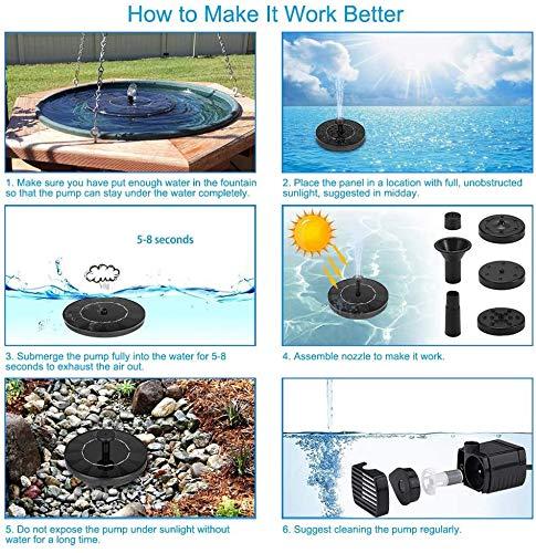 Ankway Bomba de fuente de energía solar Bomba solar para baño de aves de 2.5W Bomba flotante para fuente de agua nuevo…