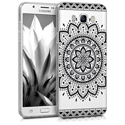 kwmobile Hülle kompatibel mit Samsung Galaxy J7 (2016) - Handyhülle - Handy Hülle Aztec Sonnenblume Schwarz Transparent