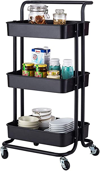 Rolling Storage Cart 3 Tier Plastic And Metal Utility Cart Multifunction Storage Trolley Service Cart With Mesh Basket Lockable Wheels Mobile Kitchen Organizer Cart For Bathroom Kitchen Office Black