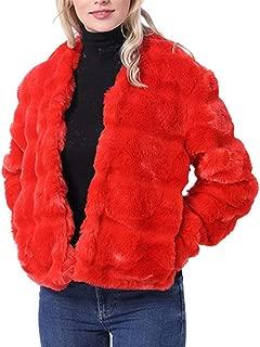 Sanyyanlsy Women's Classic Warm Faux Fur Cashmere Short Coat Jacket Long Sleeve Solid Color Fluffy Soft Tops Outwear