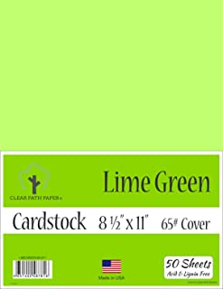 Lime Green Cardstock - 8.5 x 11 inch - 65Lb Cover - 50 Sheets