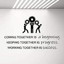 MISSLCS Success Gears Wall Decal Teamwork Business Success Work Inspiration Quote Vinyl Stickers Wallpaper Office Room Decor Mural G359-19 green_96x57 cm