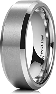 King Will Basic Men's 7MM Classic Tungsten Carbide Ring Matte Brushed Wedding Engagement Band