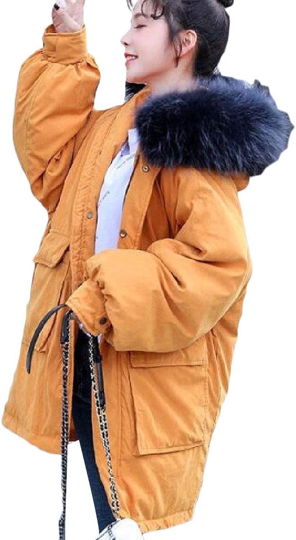 Desolateness Womens Parka Faux Fur Hooded Down Outwears Puffer Winter Outerwear