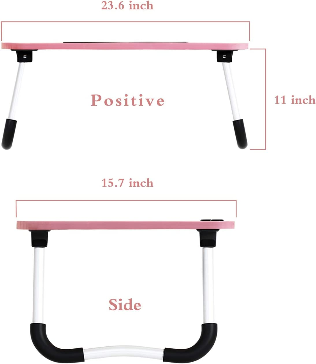 Treasure Land Foldable Laptop Desk, Bed Tray Table with Notebook Stand Reading Writing, Cup Holder, Pink