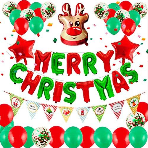 JeVenis Set de 50 globos de ciervo Decoración de fiesta de navidad Globos de navidad Suministros de fiesta de navidad Banner de fiesta de navidad Globos de feliz navidad