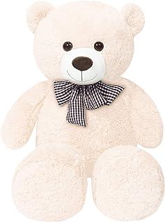 Teddy Bear Plush Toy 47 in/120cm Cuddly Stuffed Animals Teddy Bear Doll Kids Gift for Valentines Girlfriend, White