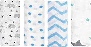 Rajlinen Swaddle Blanket - Muslin Blankets for Girls & Boys, New Baby Receiving Swaddles, Ideal Newborn Boy & Girl Gifts, Unisex Infant Shower Items, Toddler Gift, Wearable Swaddling Set of 4