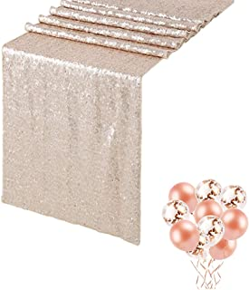 QueenDream 12in x 108 Wedding Champagne Blush Sequin Table Runner 9ft Table Runner Runner Party Sequin Table Runner Pack