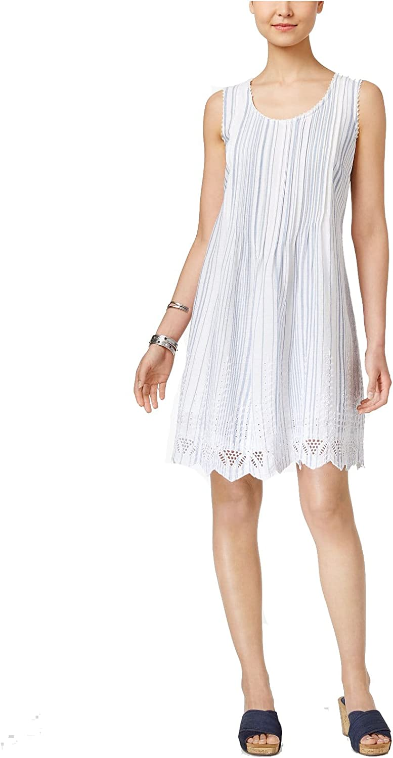 Style & Co. Womens Pleated Embroidered Dress bluee, L