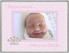Malden International Designs Baby Sentiments Girl Pink Mat With Silver Jeweled Crown Attachment Metal Shadowbox Picture Frame, 4x6, Silver