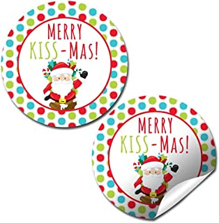 Merry Kiss-mas Holiday Christmas Thank You Sticker Labels, 40 2