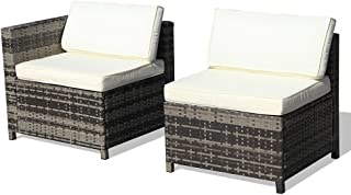 Super Patio Armless Chair& Corner Chair, Outdoor Patio Furniture All Weather Grey Rattan Wicker Sectional Sofa,White Removable Cushions
