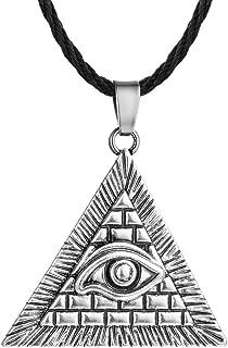 AILUOR Egypt Pyramid Necklace, Gold Eye of Horus Evil Eye Illuminati Antique Charm Pendant Jewelry Unisex